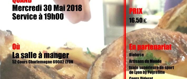 """DINER SOLIDAIRE LE 30 MAI 2018 – """"LA SALLE A MANGER"""" LYON 2éme"""