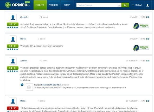 Screen strony www.opineo.pl_-_przykladowe_opinie_konsume