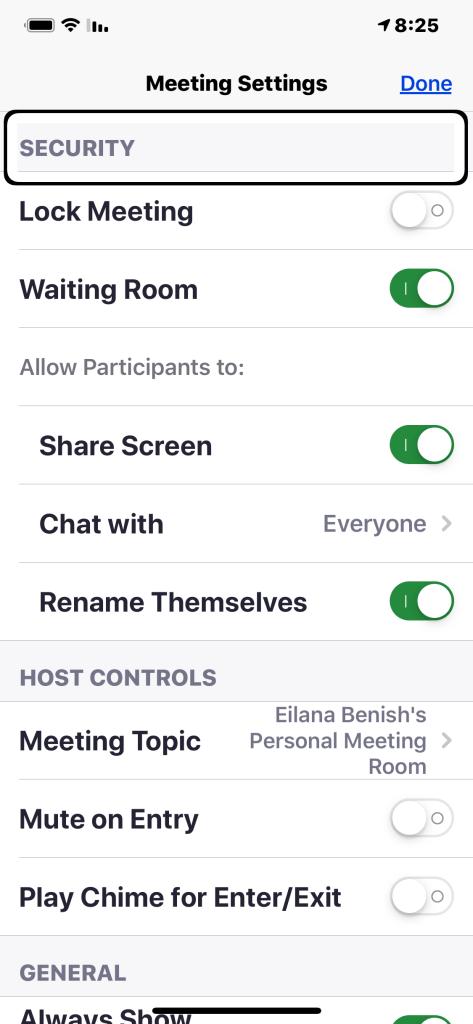 הגדרות אבטחת מפגש באפליקציית ZOOM ל IOS