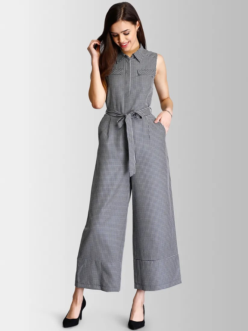 FableStreet Jumpsuits : Buy FableStreet Black and White Checks Tie Up  Jumpsuit Online   Nykaa Fashion.