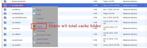 Deleting w3 total cache plugin folder to remove the plugin permanently