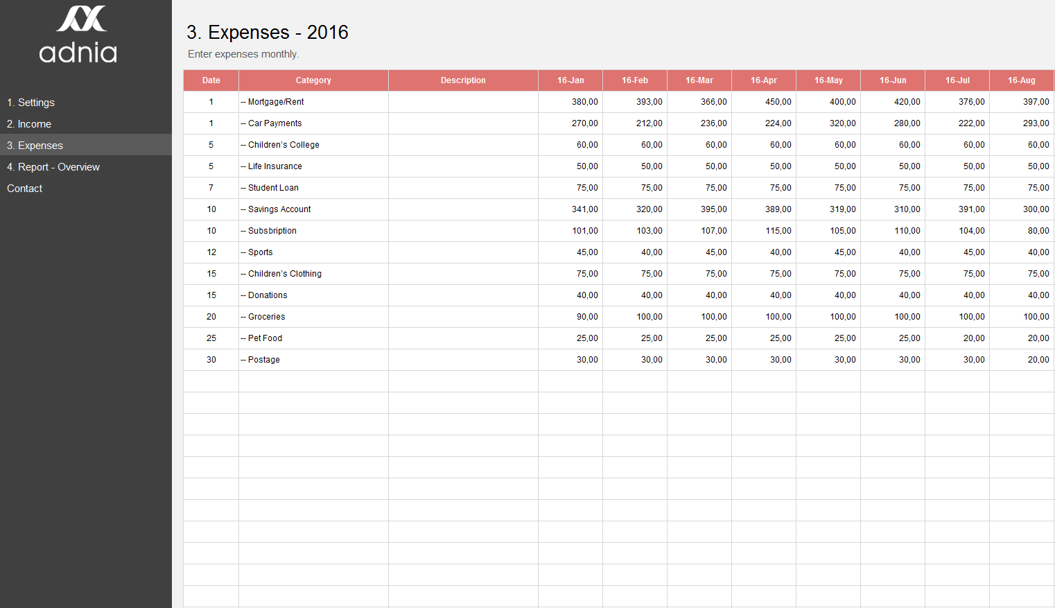 Simple Personal Budget Excel Template