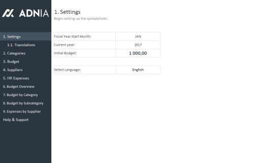 HR Budget Template - Settings
