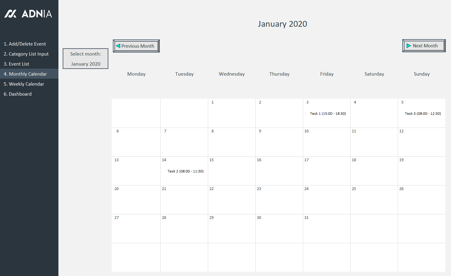 Demo - Automated Schedule Excel Template