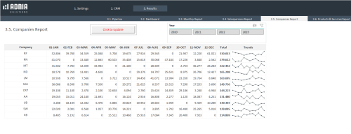 CRM Excel Template - Companies Report