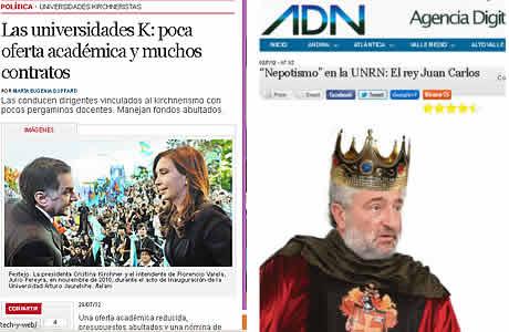 Gráfica de noticias publicadas por Clarin y ADN sobre el tema universidad