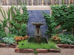 Soothing fountain at Adobe Oasis in Santa Fe, NM.
