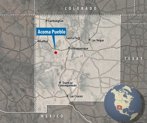 Acoma Pueblo: Map (Source: Daily Mail)