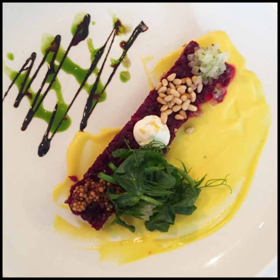 Arroyo Vino: Charcoal Roasted Beet Tartare granny smith apples, horseradish, pickled mustard seed, pine nuts, goat chèvre