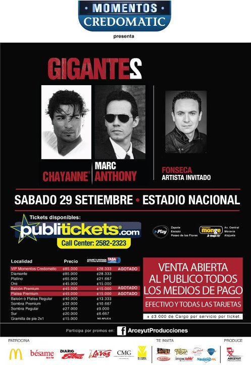 Tour Gigantes en Costa Rica: Marc Anthony, Chayanne y Fonseca