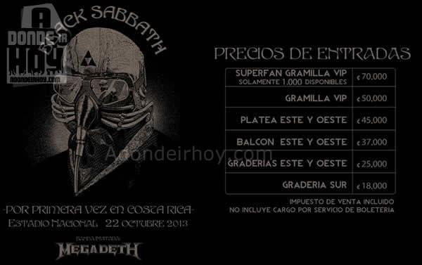 Precios Black Sabbath en Costa Rica