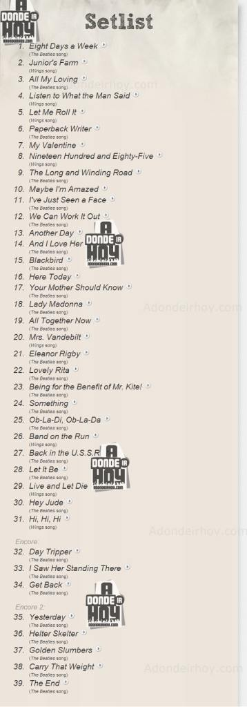 Setlist Paul McCartney Out There Tour