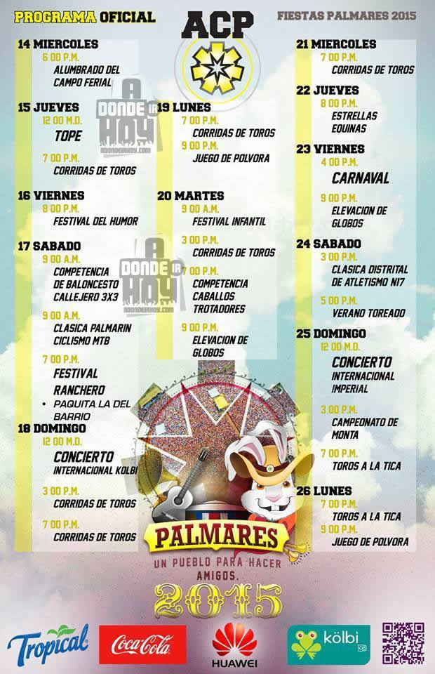 Calendario Fiestas Palmares 2015