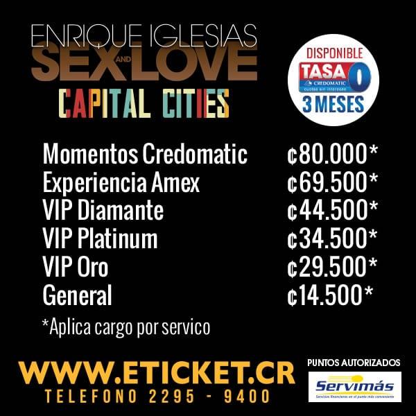 Precios Entradas Enrique Iglesias en Costa Rica 2015