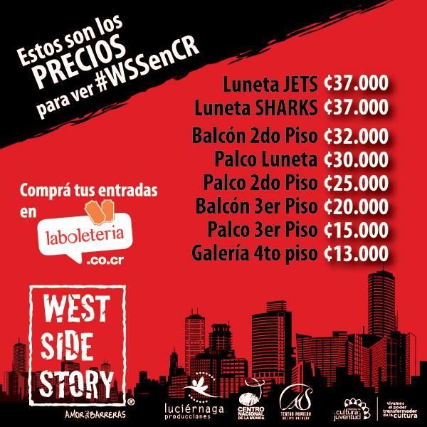 Precios Broadway en Costa Rica con West Side Story