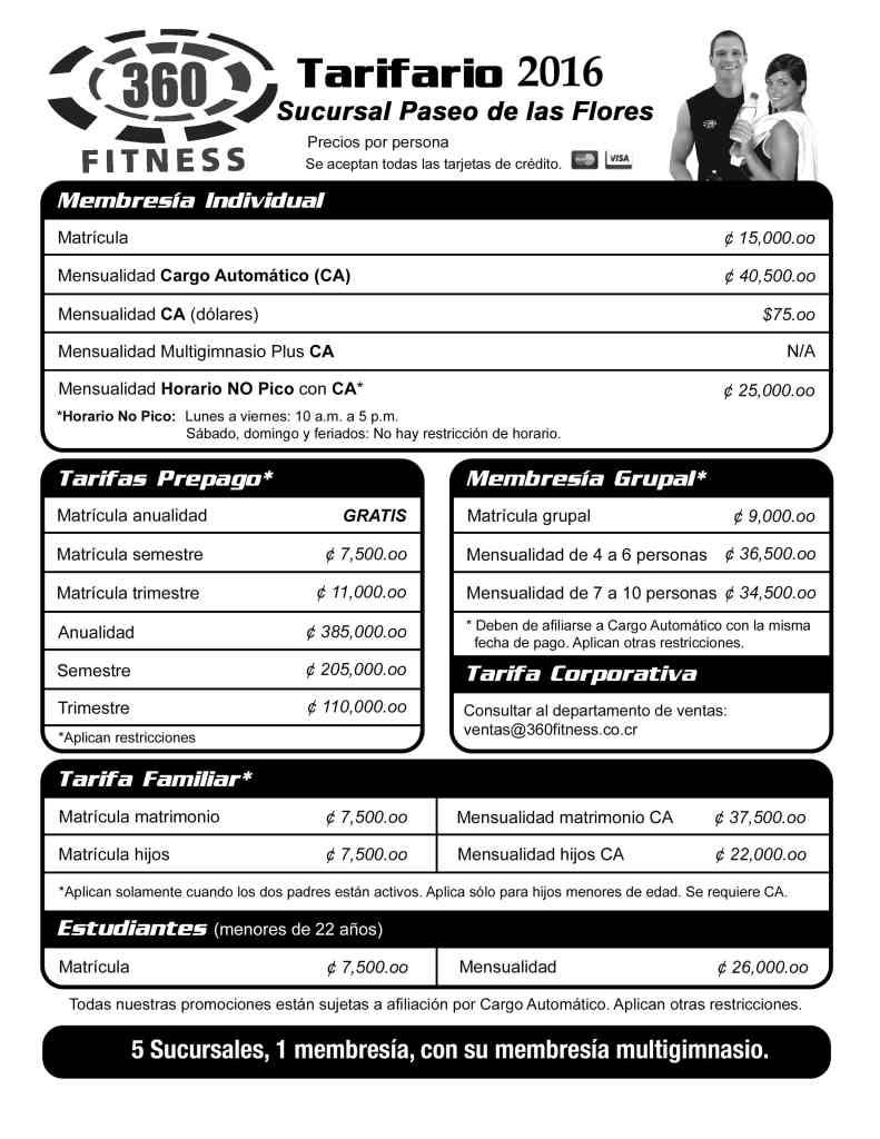 Tarifas Gimnasios 360 Fitness Costa Rica
