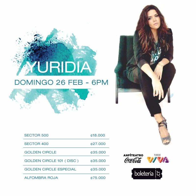 Precio entradas Concierto de Yuridia en Costa Rica Vive 2017