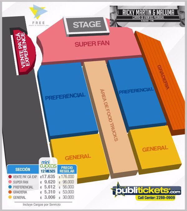 Mapa concierto de Maluma y Ricky Martin en Costa Rica
