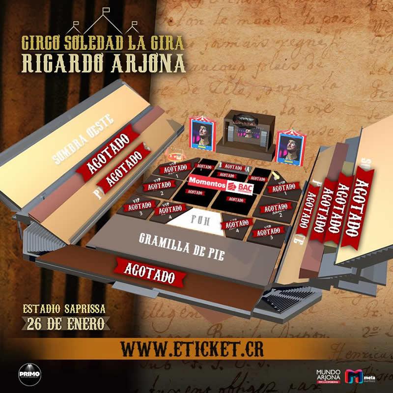 MapaRicardo Arjona Circo Soledad Costa Rica 2018