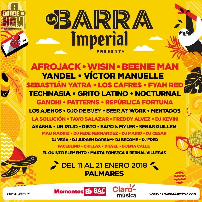 Lineup Calendario Barra Imperial 2018 Fiestas Palmares Costa Rica