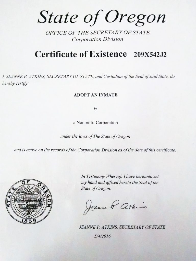 Cert of Existence from SOS