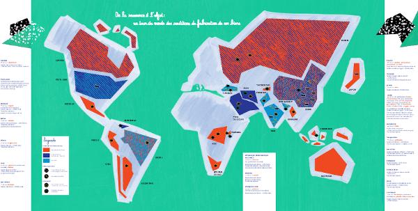 Infographie carte du monde de l'impact écologique et des conditions de fabrication des objets
