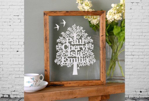 Gift - family tree made of papercut names