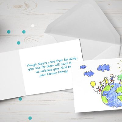 Global International adoption card - child's drawing of world family