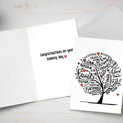 Naming Day card - Tree made up of family member names