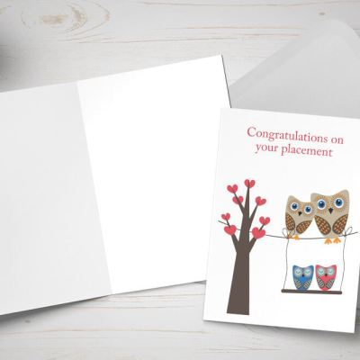 Placement Day card - owl family tree / nest
