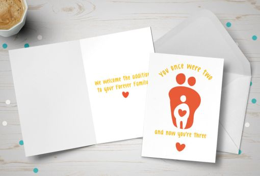 Placement Adoption card - couple adopting one child - orange and white