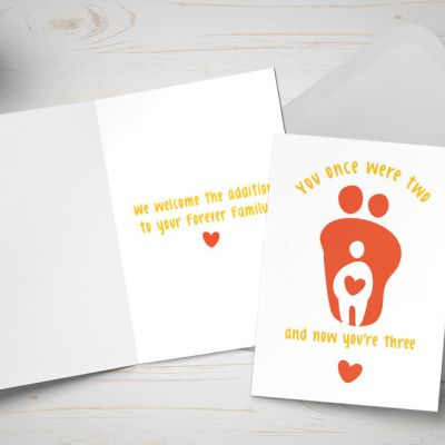 Placement Adoption card - couple adopting one child - orange and white