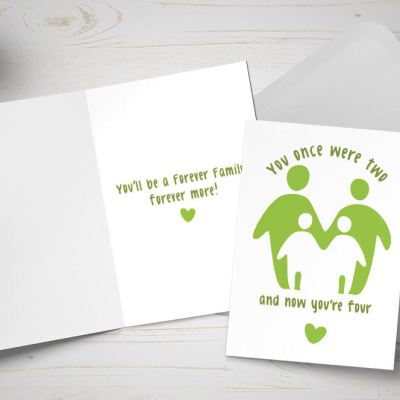 Placement card - couple adopting two children - green and white