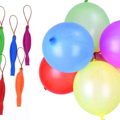 Picture of multi-coloured punching balloons on elastic