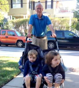 Papa takes the grandkids to school