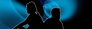 silhouette of man and woman facing away from each other