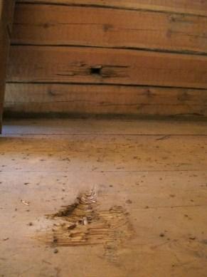 Ammuksen jälki viljamakasiinin lattiassa.