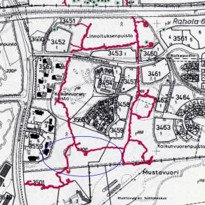 Tampere Mustavuori Sinisellä merkattu alue C on pieni osa laajoja puolustusvarustuksia Pirkanmaan maakuntamuseo