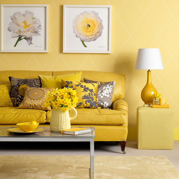 Yellow Living Room 21 Lofty Design Bright Blue And