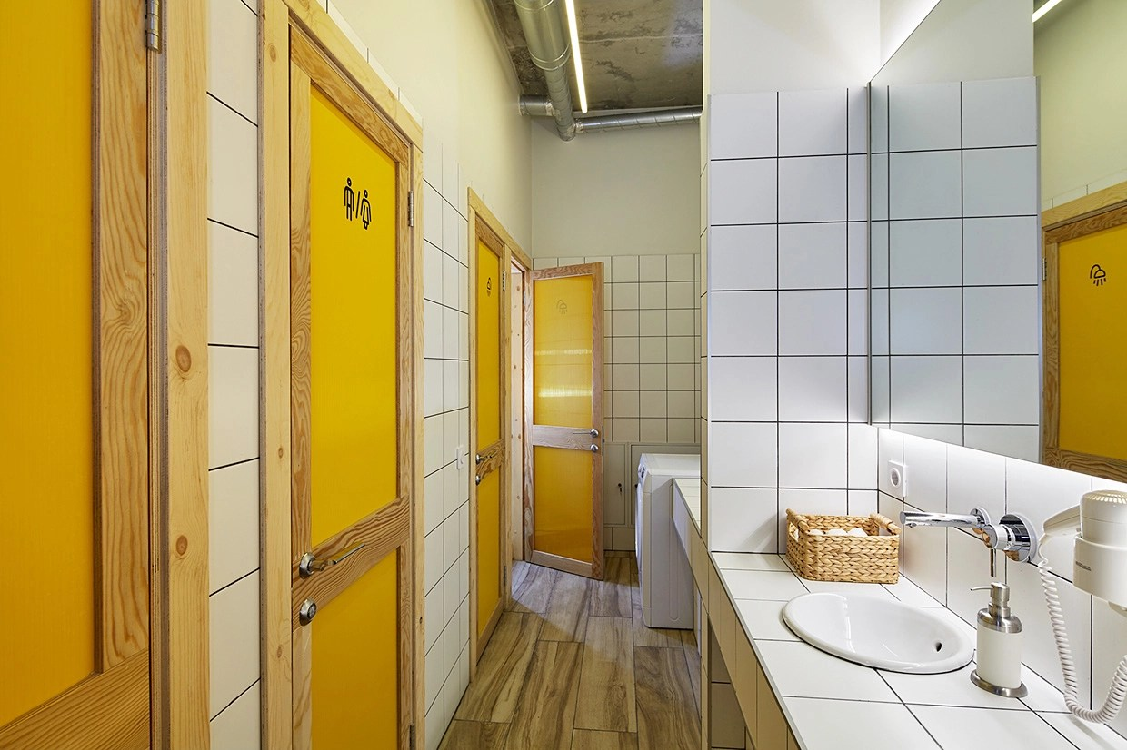 Modern Hostel Bathroom