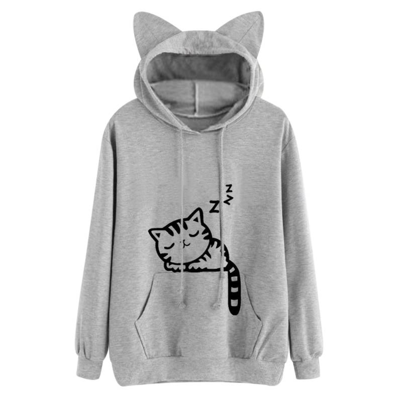 Women's Cat Printed Hoodie For Pet Lovers T-shirts & Sweatshirts