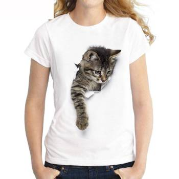 Women's Cat Printed T-Shirt For Pet Lovers T-shirts & Sweatshirts