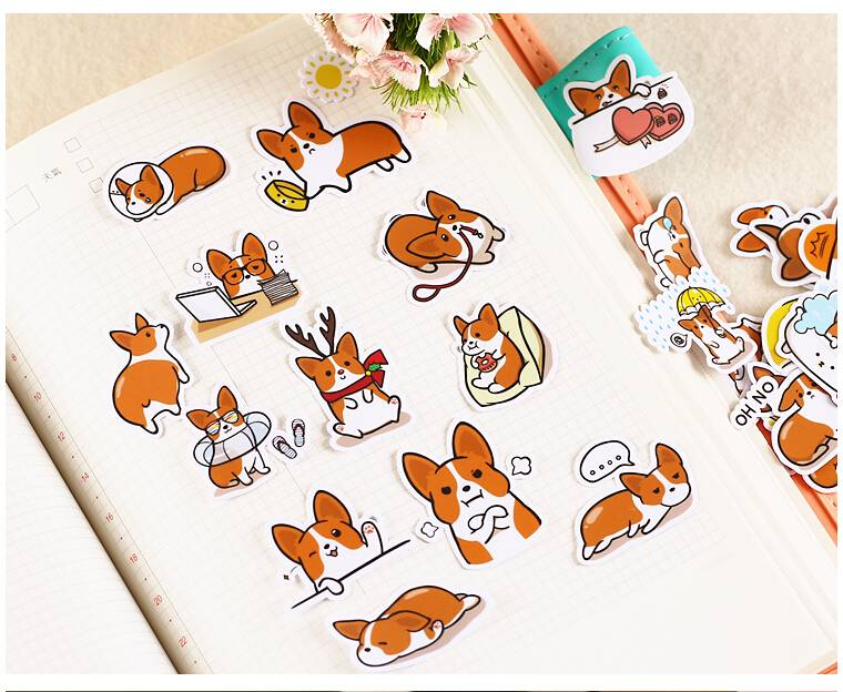 Cute Dog Printed Stickers 39 pcs Set For Pet Lovers Office & School Supplies