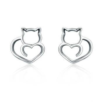 925 Sterling Silver Cat and Heart Shaped Women's Stud Earrings For Pet Lovers Jewelry & Watches