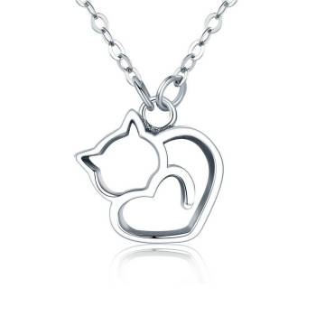 925 Sterling Silver Cat Pendant Necklace For Pet Lovers Jewelry & Watches
