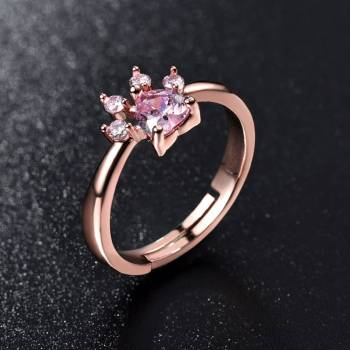 Cute Rose Gold Crystal Cat Paw Ring For Pet Lovers Jewelry & Watches