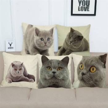British Cat Linen Cushion Cover For Pet Lovers Home Decor