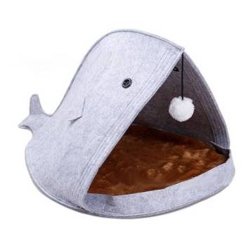 Foldable Whale Shaped Felt Bed Beds Cats