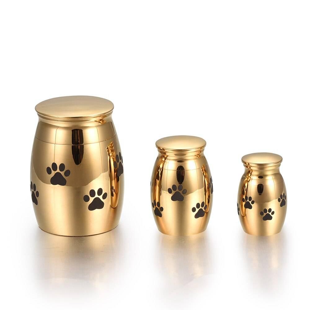 Paw Engraved Stainless Steel Pet Memorial Jar Box & Jar Memorials