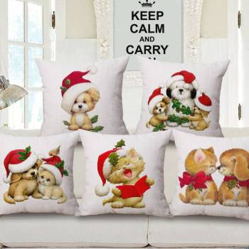 Christmas Dogs And Cats Prints Cushion Covers Pet Christmas Costume and Toy
